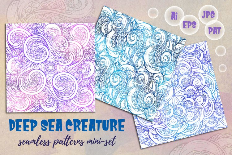 Deep sea creature seamless patterns mini-set