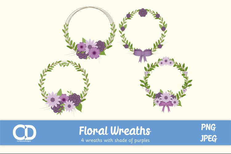 4 Floral Wreath Elements in shades of Purple