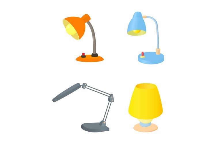 Desktop lamp icon set, cartoon style example image 1
