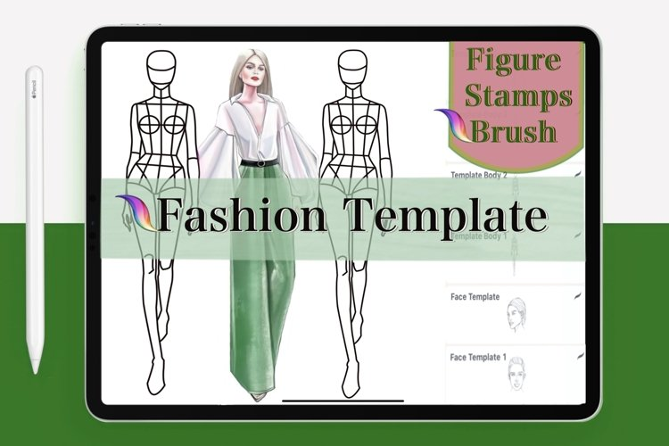 Figure Stamp Brushes Set Procreate. Fashion body stamps