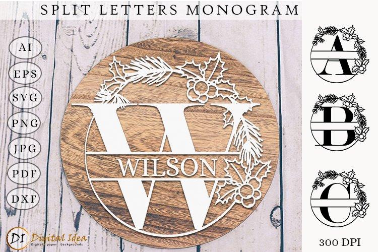 Monogram Letters SVG. Monogram Split Letters. Split Letters example image 1