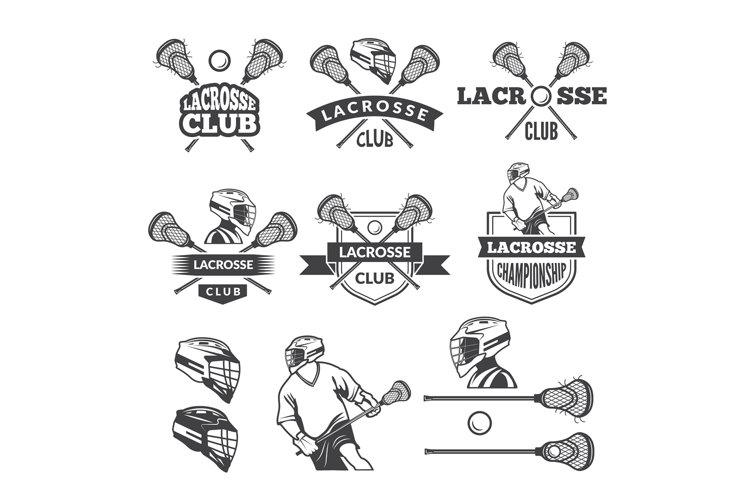 Labels of lacrosse club. Vector monochrome pictures set example image 1