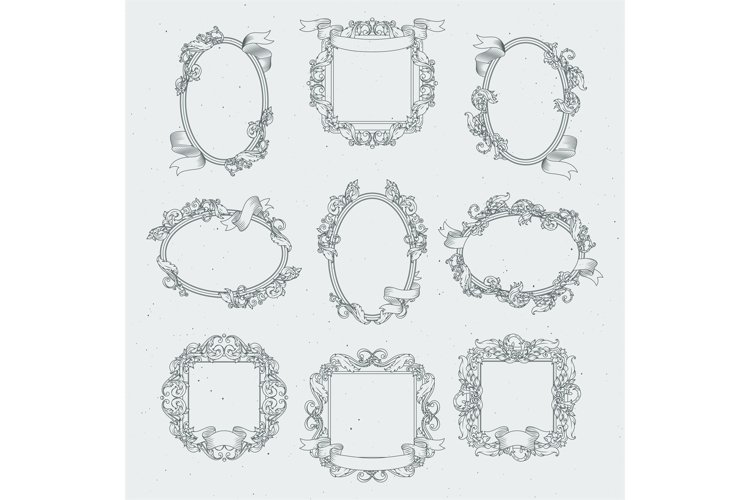 Vintage borders and victorian ribbons. Vector set in retro s example image 1