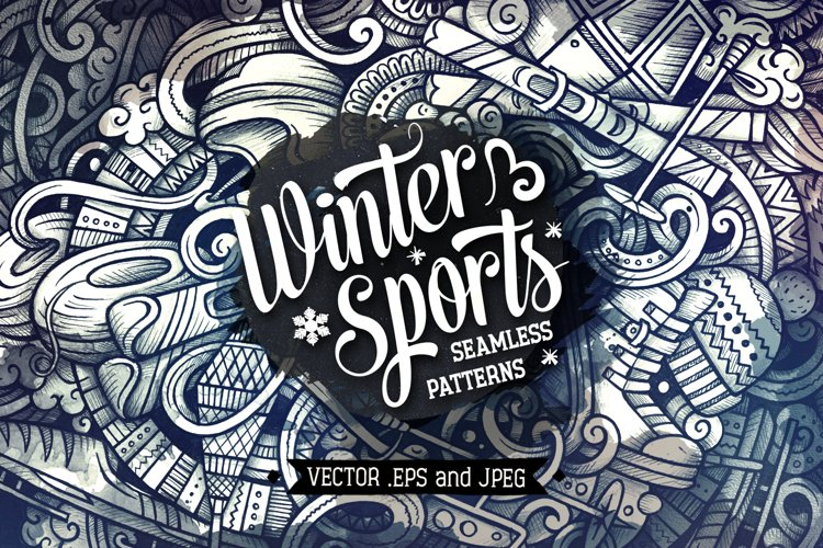 Winter Sports Graphics Doodle Patterns example image 1