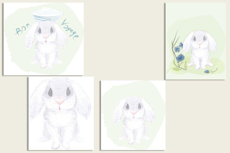 Funny watercolor Bunny
