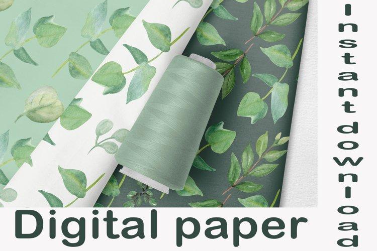 Floral digital paper eucalyptus leaves, Seamless designs