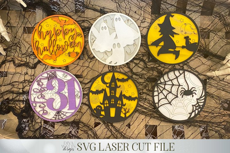 3D Halloween Signs   Glowforge SVG   Set of 6 Designs   example image 1
