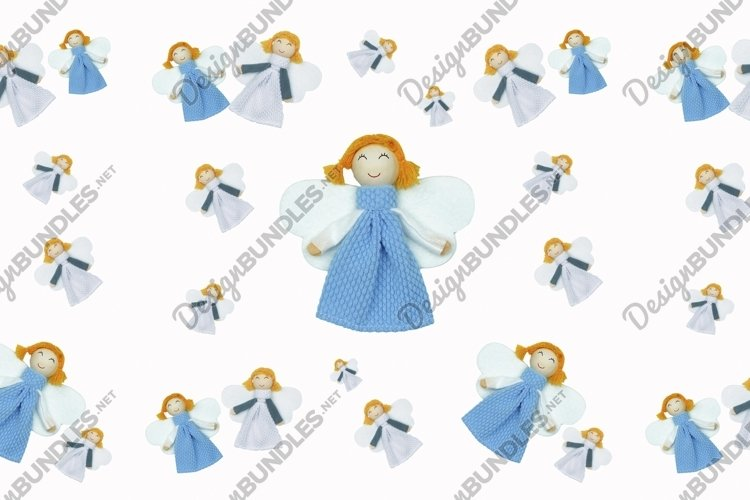 Angel in Blue dress seamless pattern Background example image 1