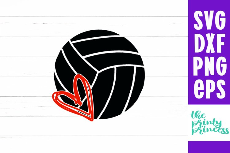 Volleyball Heart svg, Volleyball Cutting File example image 1