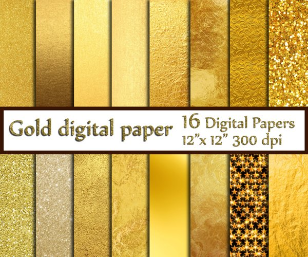 Gold Foil Digital Paper example image 1