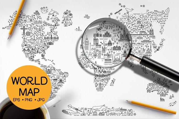 World Travel Line Icons Map example image 1