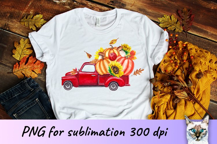 Red truck with Pumpkins Fall Sublimation Design example image 1