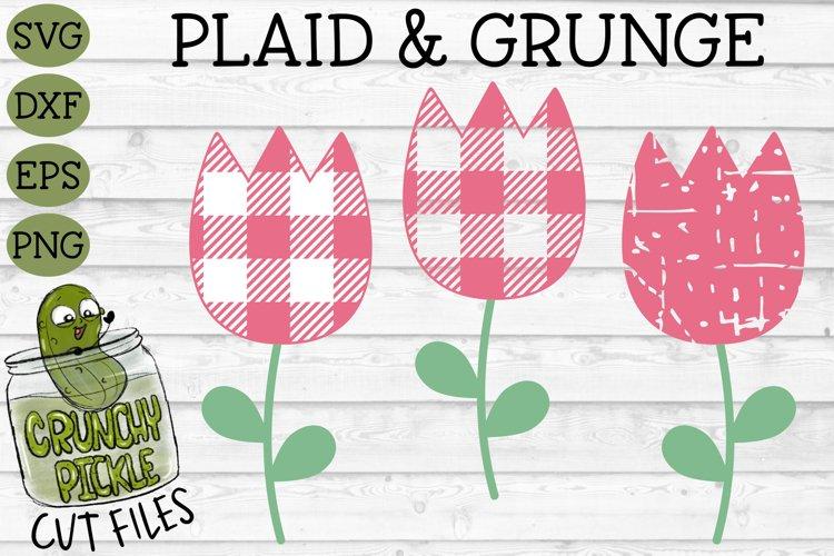 Plaid & Grunge Tulip SVG Cut File