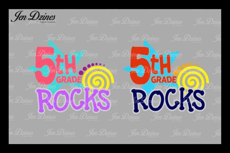 Fifth Grade Rocks SVG DXF EPS PNG example image 1