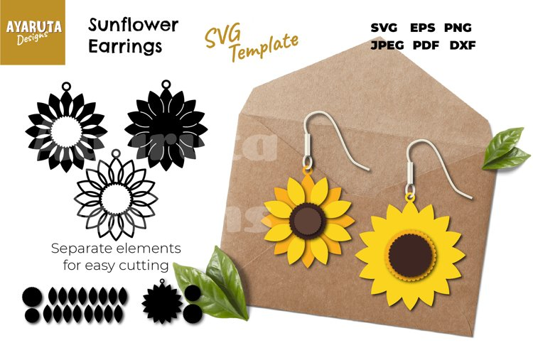Earrings Sunflower SVG   Craft template for leather cutting example image 1