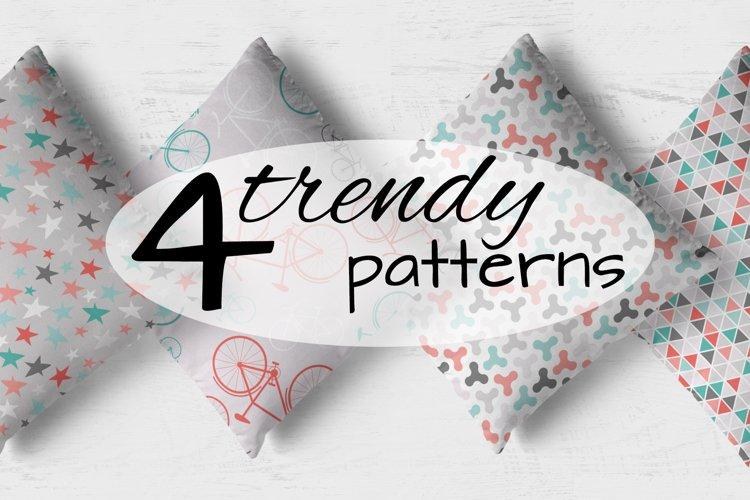 4 trendy seamless patterns