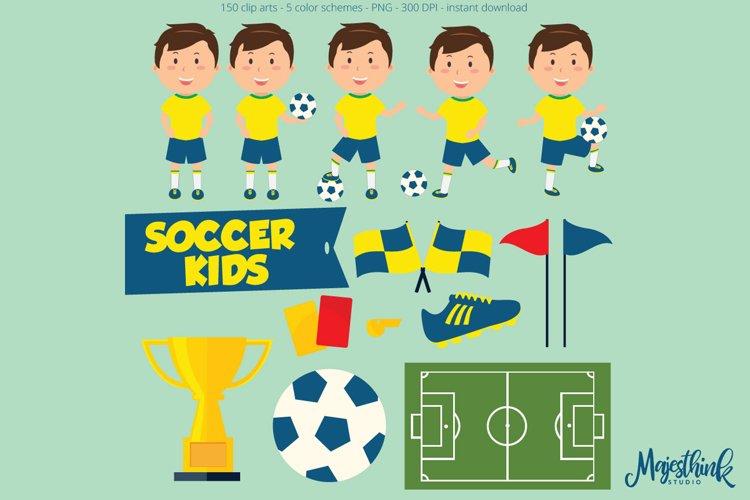 Soccer / Footbal Children Clip Art - Sport Clip Art - BASEBALL KIDS - with football sport element, ball, shoes, flag, whistle, flag digital example image 1