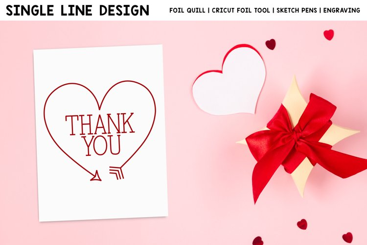 Valentines Day Thank You Single Line Design For Foil Quill example image 1