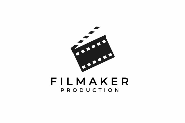 Clapperboard with Negative Film Logo Design example image 1