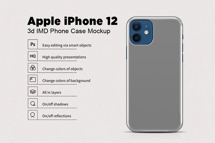 Apple iPhone 12 3d Phone Case Mockup Back View example image 1
