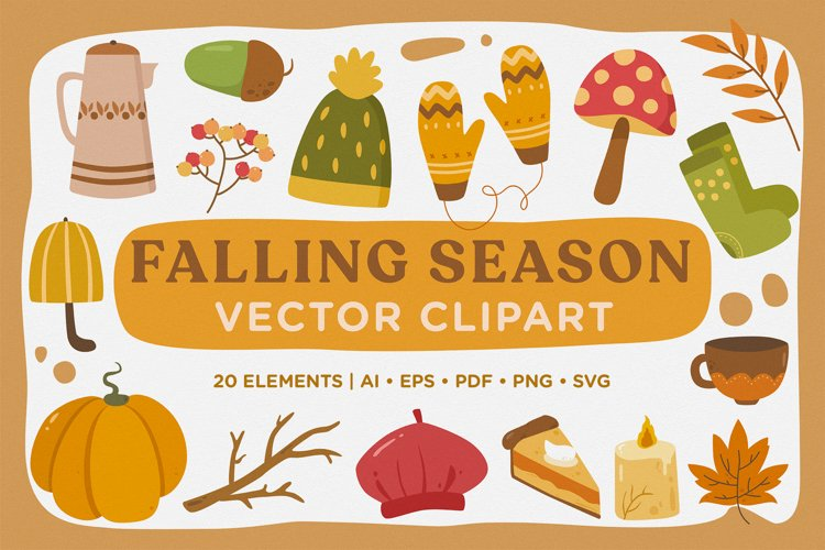 Falling Season Vector Clipart Pack example image 1