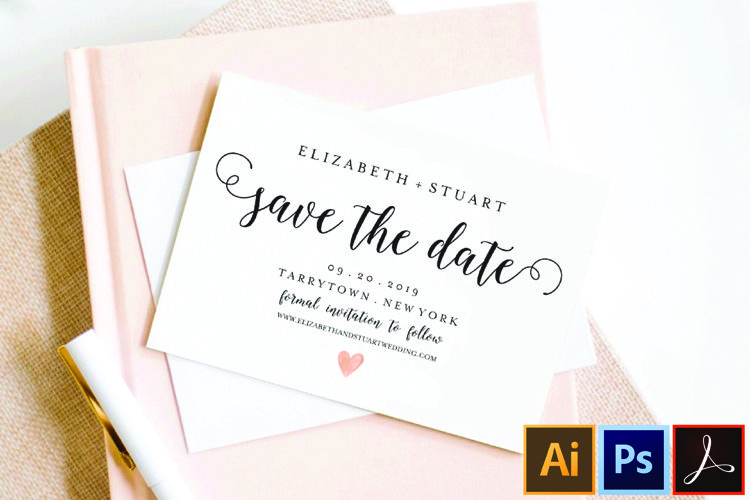 save the Date Template, Printable Save the Date Postcard example image 1