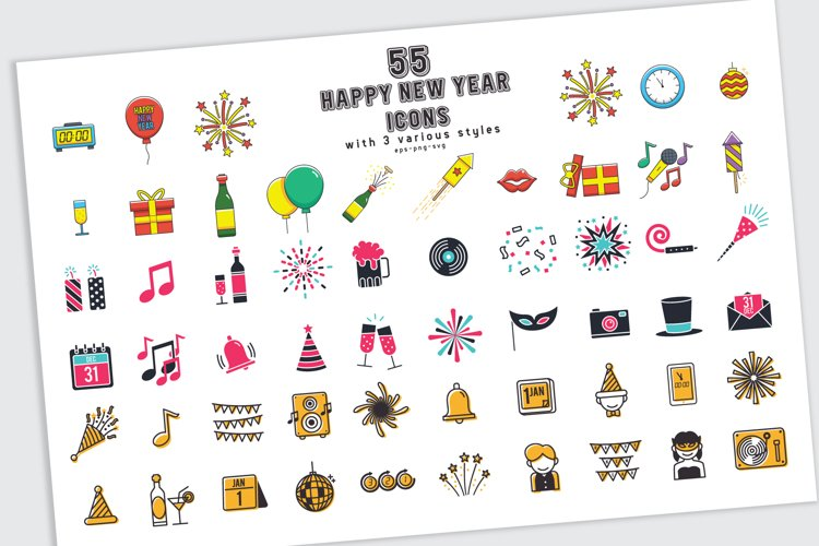 55 Happy new year icons in 3 styles and bonus