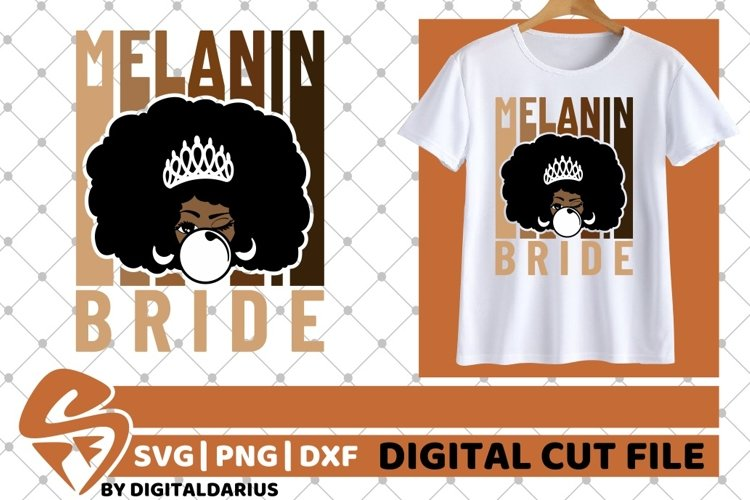 Bride svg, Wedding svg, Black Woman, Melanin, Sublimation example image 1