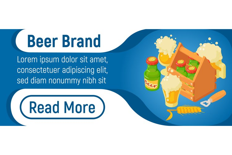 Beer brand concept banner, isometric style example image 1