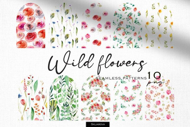 Wild flowers seamless patterns