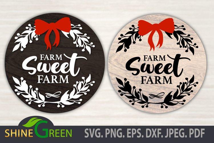 Christmas SVG - Farm Sweet Farm Floral Round Sign, Farmhouse example image 1