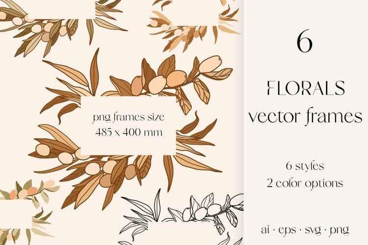 Florals svg frames, olive, jojoba, eucalyptus sublimation