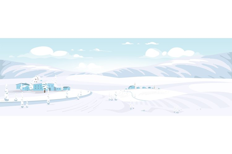 Winter scenery flat color vector illustration example image 1