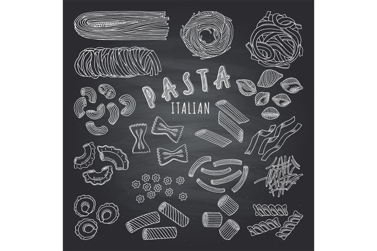 Types of itallian pasta. Hand drawn pictures on dark backgro example image 1