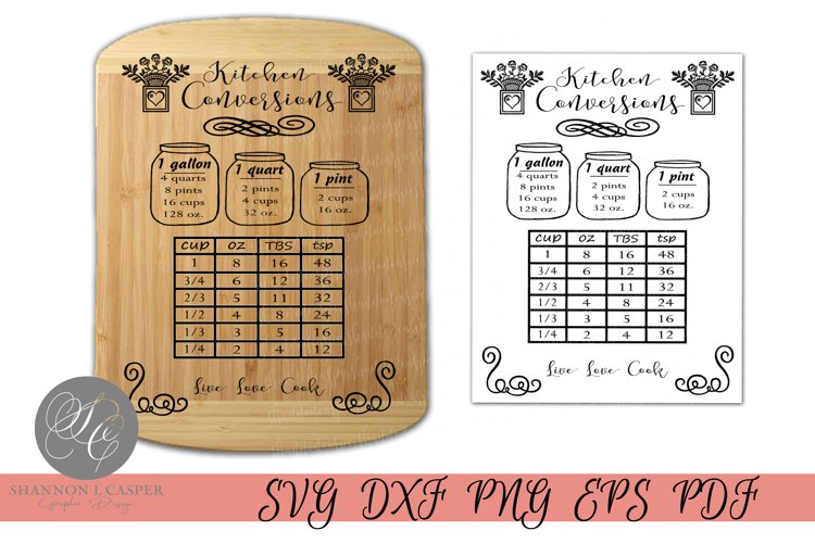 Kitchen Conversion Chart Print or SVG example image 1