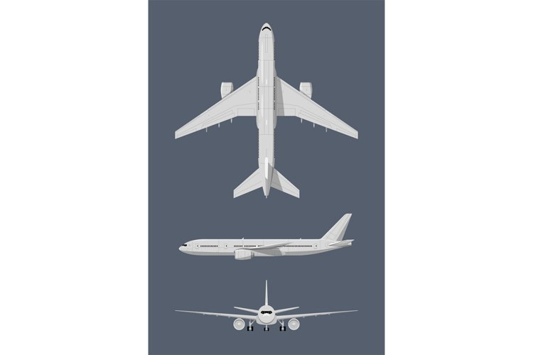 Different sides of modern airplane. Vector illustrations iso