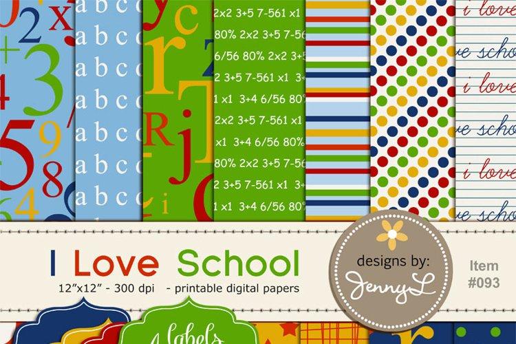 School Numbers Digital Paper, Arts & Craft Papers. I Love School, math, teacher example image 1