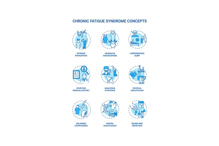 Chronic fatigue syndrome concept icons set example image 1