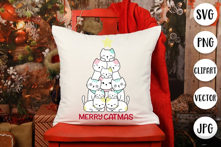 Merry Catmas SVG - Christmas cut files for cat lovers example image 1