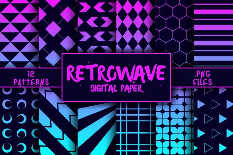 Retrowave Pattern Digital Paper example image 1
