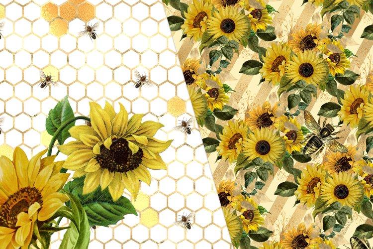 Sunflower Bees Digital Paper - Free Design of The Week Design0