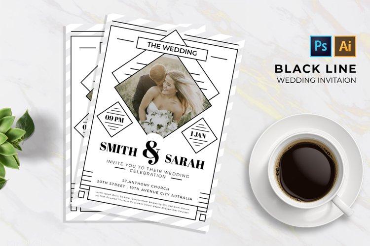 Black Line 2 Wedding   Invitation example image 1
