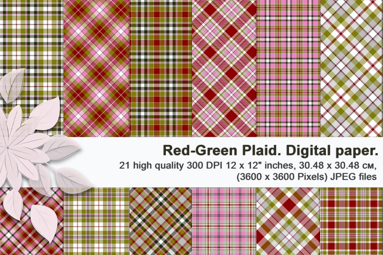 Red green Christmas plaid, digital seamless tartan.