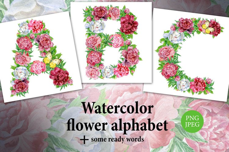 Watercolor peony alphabet