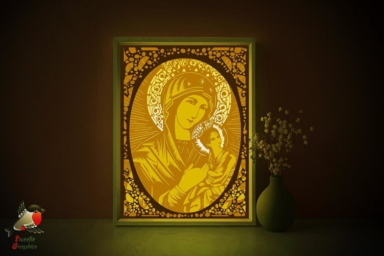 Mother of God Russian Icon Lightbox Shadow Box SVG Template example image 1
