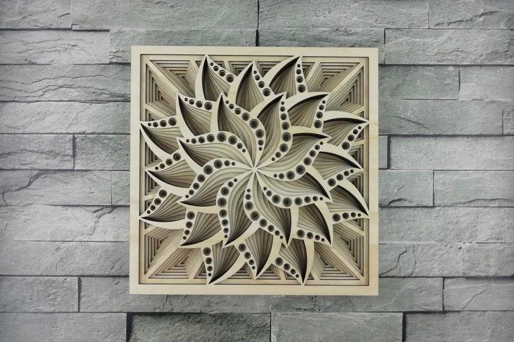 Layered Mandala SVG, Laser cut file, Cricut Mandala, Flower example image 1