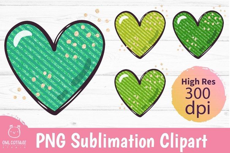 Green Glitter Hearts mini set PNG,St.Patricks Sublimations