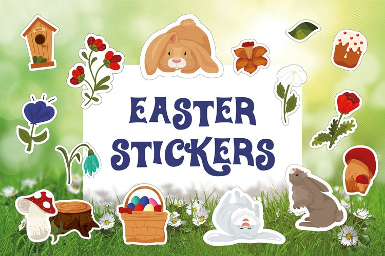 Easter / Spring / Rabbits Stickers / Flowers