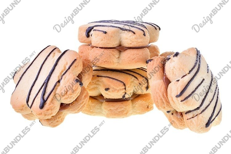 Stock Photo - Cookies sandwich with chocolate and custard example image 1