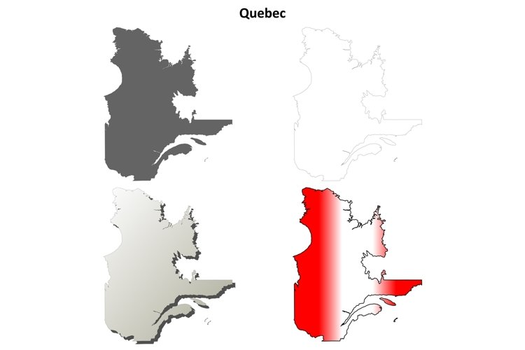 Quebec blank outline map set example image 1